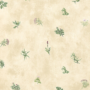 Herb Sidewall Cream, Pink and Green Wallpaper