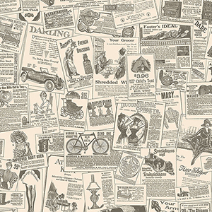 Beige and Black Newspaper Wallpaper