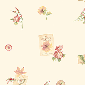 Grains De Tournesol Cream, Yellow and Red Floral Wallpaper