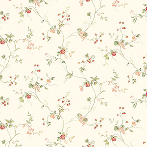 Mini Fruit Trail Red, Green and Cream Wallpaper