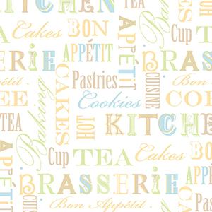 Kitchen Script Multicolor Wallpaper
