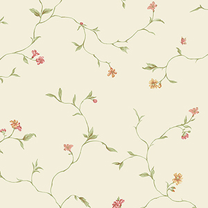 Small Trail Cream and Red Floral Wallpaper