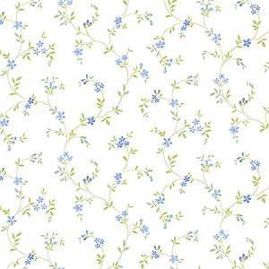 Seed Trail Blue and Green Floral Wallpaper