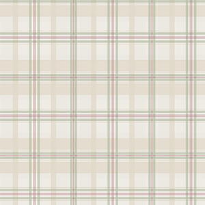 Cream, Green and Pink Plaid Wallpaper