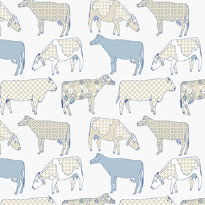 Cow Parade Cream and Blue Wallpaper