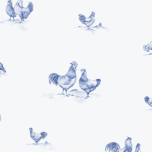 Delft Chicken Blue Wallpaper
