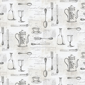 Cutlery Sidewall Black and Tan Wallpaper