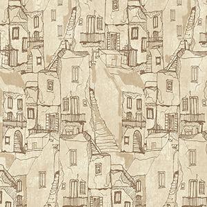 Tuscan Villas Cream and Brown Wallpaper