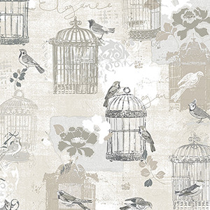 Victorian Birdcage Black and Tan Wallpaper