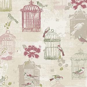 Victorian Birdcage Beige and Pink Wallpaper