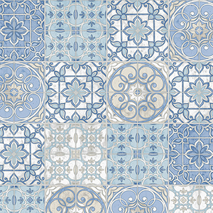 Blue and Cream Portuguese Tiles Wallpaper