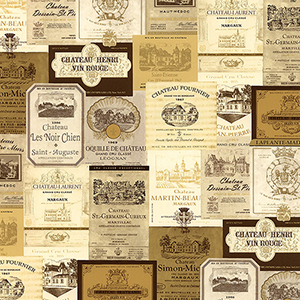 Cream, Beige and Metallic Gold Wine Labels Wallpaper