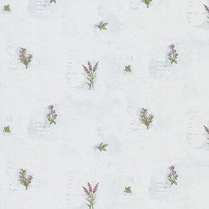 Herb Flowers Sidewall Blue and Green Wallpaper