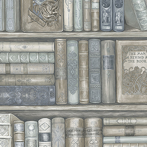 Blue and Brown Bookcase Wallpaper