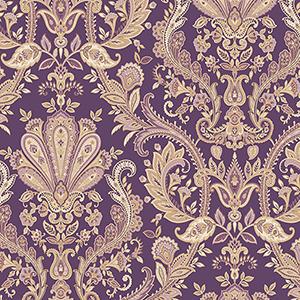 Jacobean Paisley Purple, Metallic Gold and Mauve Wallpaper