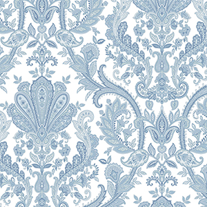 Jacobean Paisley Blue, Pearl and White Wallpaper