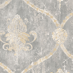 Regal Damask Grey and Beige Wallpaper