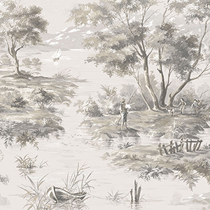 La Campagne Black and Taupe Wallpaper