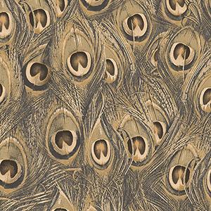 Metallic Gold and Ochre Peacock Wallpaper