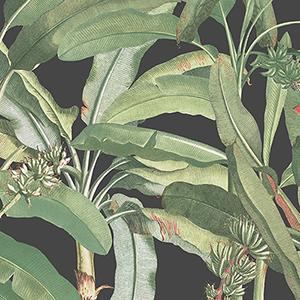 Black and Green Polynesian Leaves Wallpaper