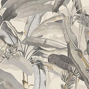 Beige and Black Polynesian Leaves Wallpaper