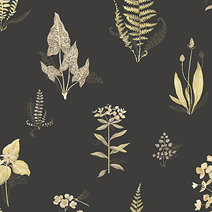 Yellow and Black Ferns Wallpaper