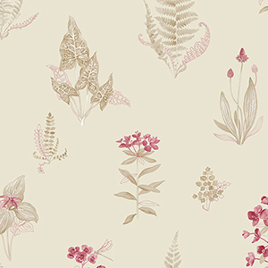 Red, Cream and Taupe Ferns Wallpaper