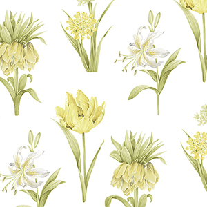 Botanical Floral Green and Yellow Wallpaper