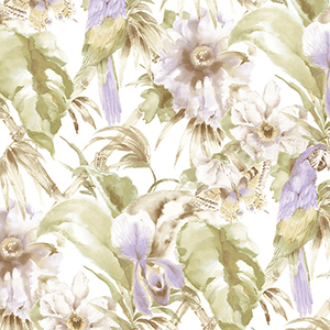 Palm Beach Parrot Purple and Green Floral Wallpaper