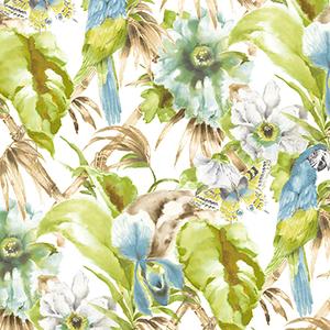 Palm Beach Parrot Green and Aqua Floral Wallpaper