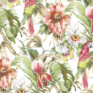 Palm Beach Parrot Red and Green Floral Wallpaper