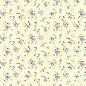 Mini Spring Time Trail Yellow, Blue and Pink Floral Wallpaper