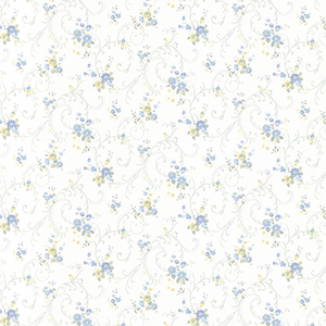 Rhiannon Trail Light Blue and Yellow Floral Wallpaper