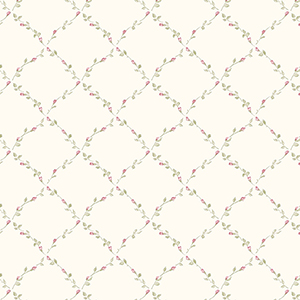 Red Rose Trellis Beige, Pink and Cream Floral Wallpaper