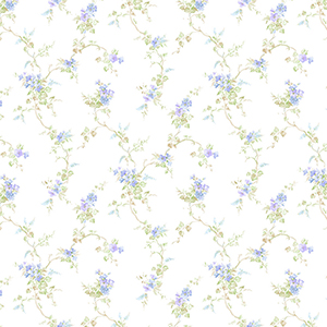 Ivy Trail Blue, Purple and Green Floral Wallpaper