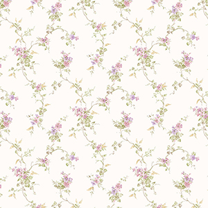 Ivy Trail Pink, Green and Purple Floral Wallpaper