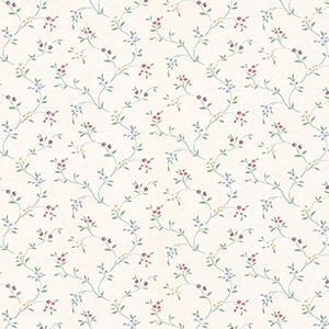 Small Floral Trail Cream, Red and Blue Wallpaper