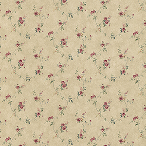 Laura Trail Tan, Red and Green Floral Wallpaper