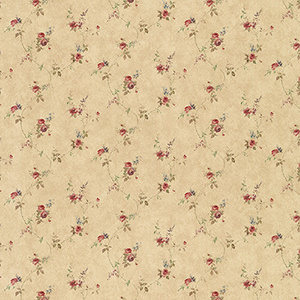 Laura Trail Dark Beige, Red and Blue Floral Wallpaper