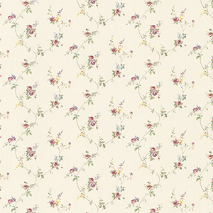Laura Trail Cream, Pink and Yellow Floral Wallpaper