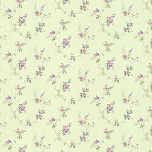 Laura Trail Green, Pink and Purple Floral Wallpaper