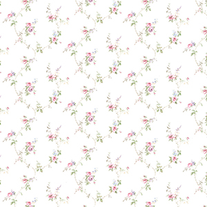 Laura Trail Pink, Purple and Blue Floral Wallpaper