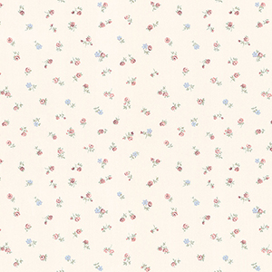 Shabby Rose Buds Cream, Pink and Blue Wallpaper
