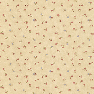 Shabby Rose Buds Tan, Pink and Blue Wallpaper