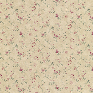 Floral Vine Pink, Tan and Green Wallpaper