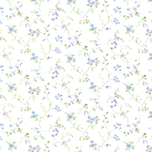 Floral Vine Green, Purple and Blue Wallpaper