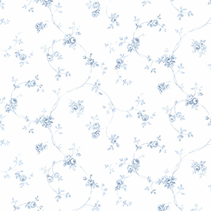 Delft Rose Light Blue and White Wallpaper