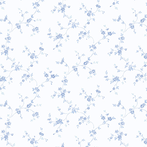 Como Trail Blue and White Floral Wallpaper