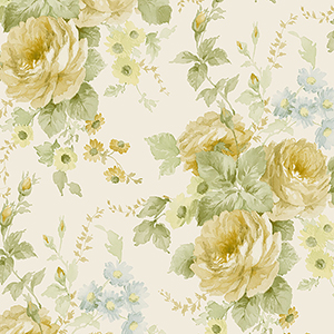 La Rosa Yellow, Green and Blue Floral Wallpaper