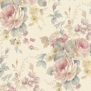 La Rosa Cream, Pink and Blue Floral Wallpaper